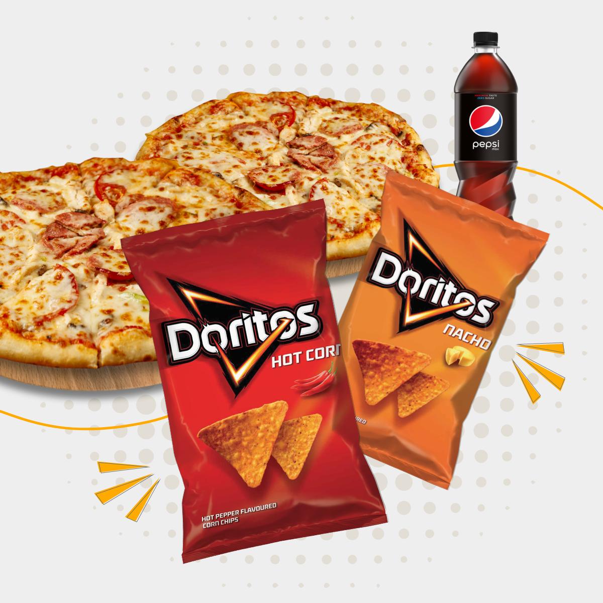 Kup 2 duże pizze + pepsi 0.85l a doritos dostaniesz gratis!